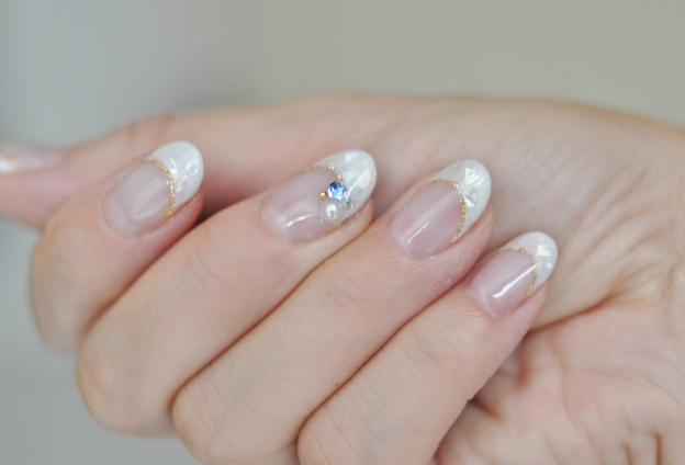 シェル,貝殻,ジェルネイル,春夏デザイン,2016年,白フレンチ,ホワイト