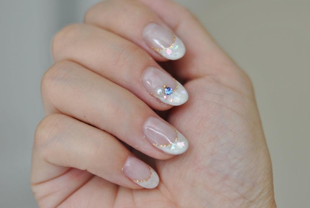 シェル,貝殻,輝き,ホワイトフレンチ,春夏ネイル,2016年