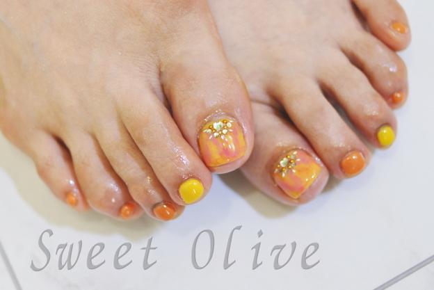 タイダイ柄フットジェルネイル,夏デザイン2016年,オレンジ,黄色