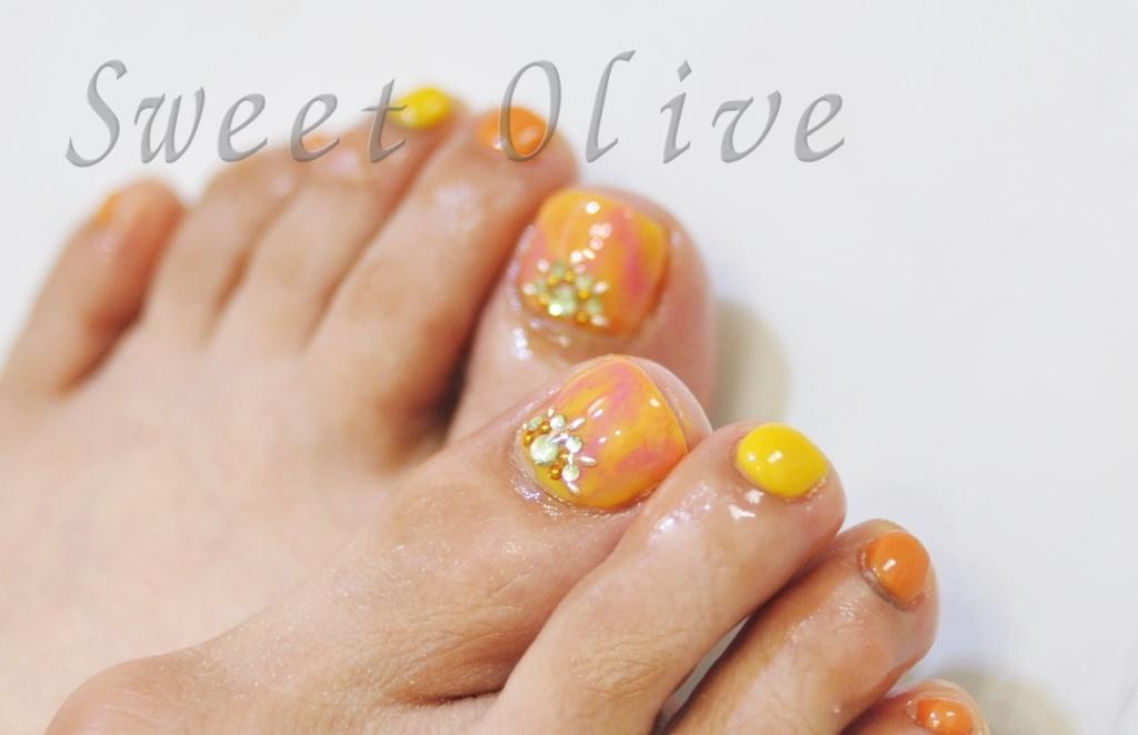 オレンジ,黄色,マーブル,フットジェルネイル,元気カラー
