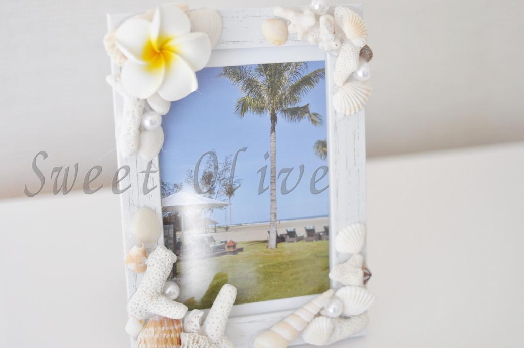 写真立て,フォトフレーム,ボルネオ島,思い出,プルメリア,貝殻,サンゴ礁
