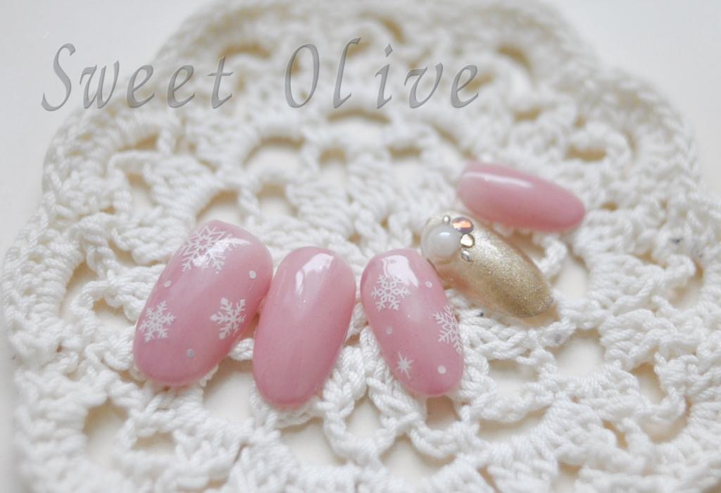 白雪の結晶シール,可愛い,ゴールド,ピンク,雪,2016冬ネイル