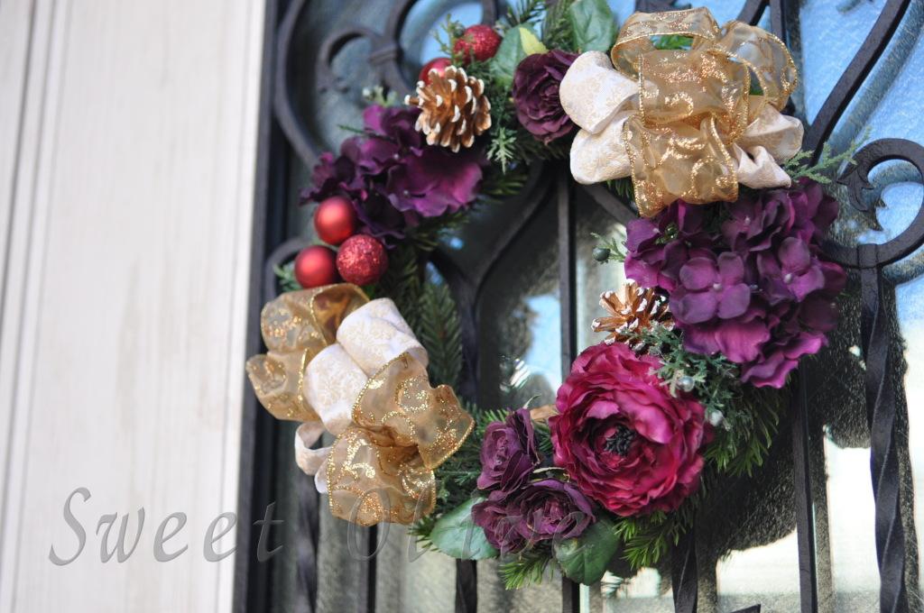 クリスマスリース,紫,ゴールド,玄関,自宅ネイルサロン