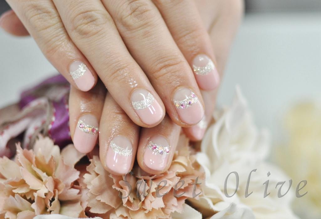 春ネイル2017年,薄ピンク,さくら色,シルバーラメダブルフレンチネイル