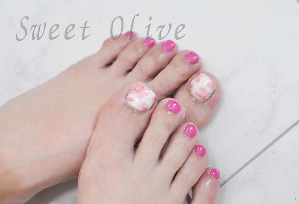 ふんわりサクラ柄,桜,さくら,春フットジェルネイル