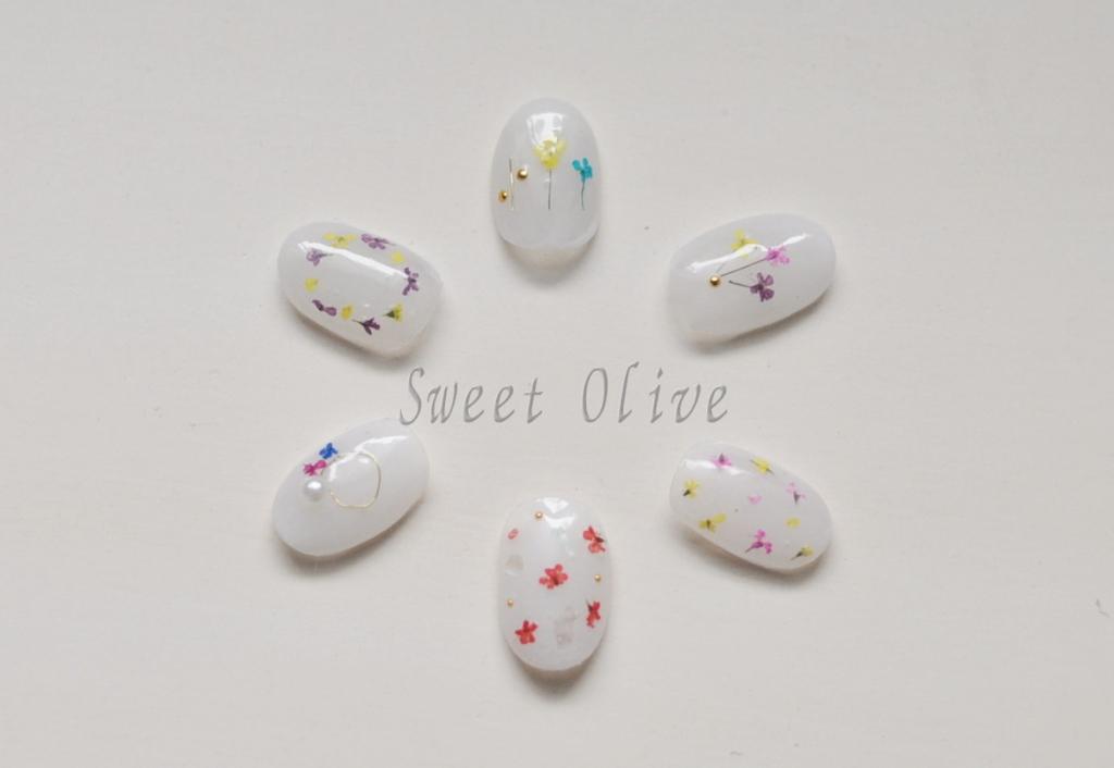 ミルキーホワイト,小さなドライフラワー押し花,花束,リース,ジェルネイル