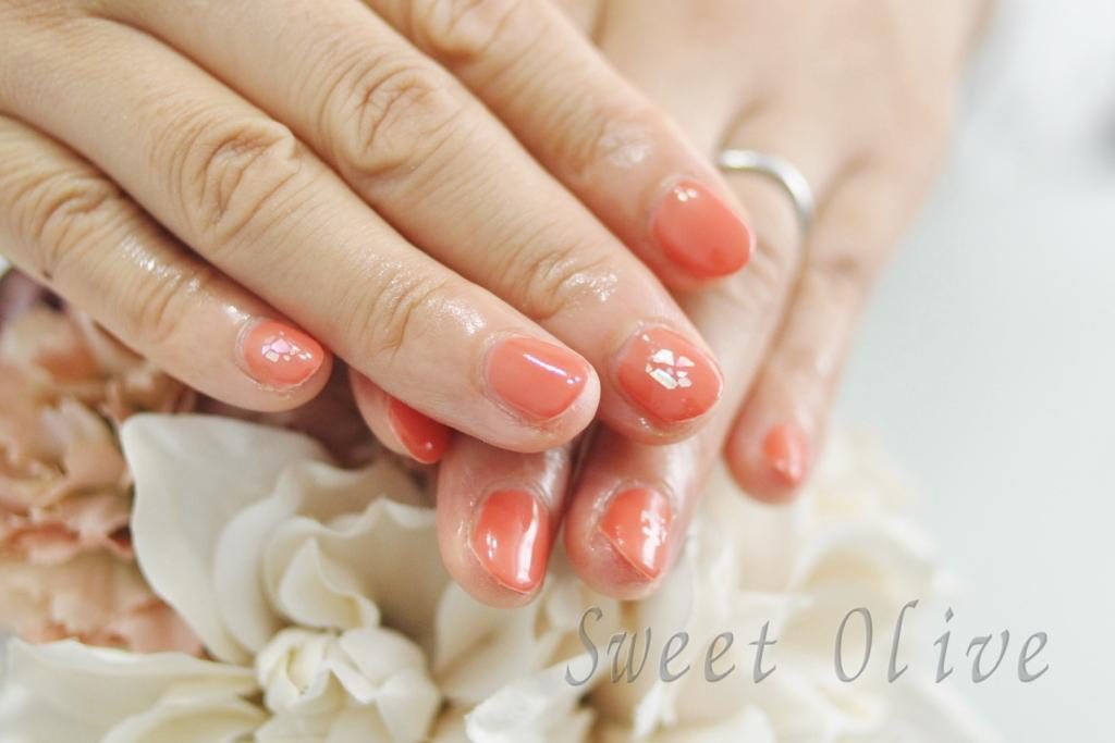 秋のオレンジネイル,全塗り,一色塗り,シェル,貝殻,まとめ置き