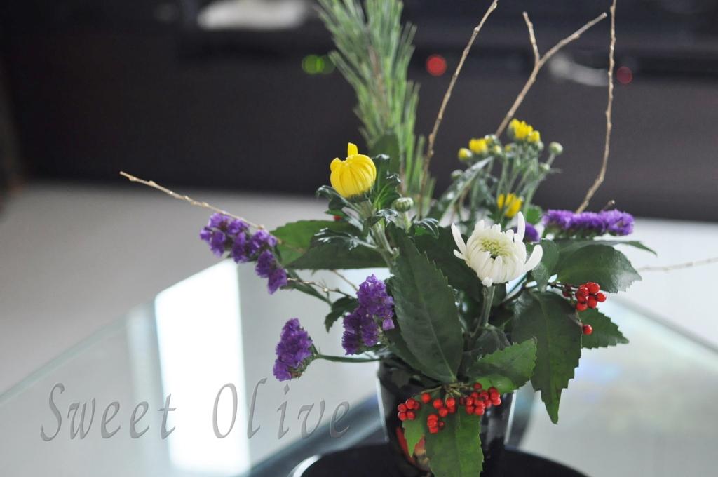 お正月お花,画像,南天,自宅ネイルサロン