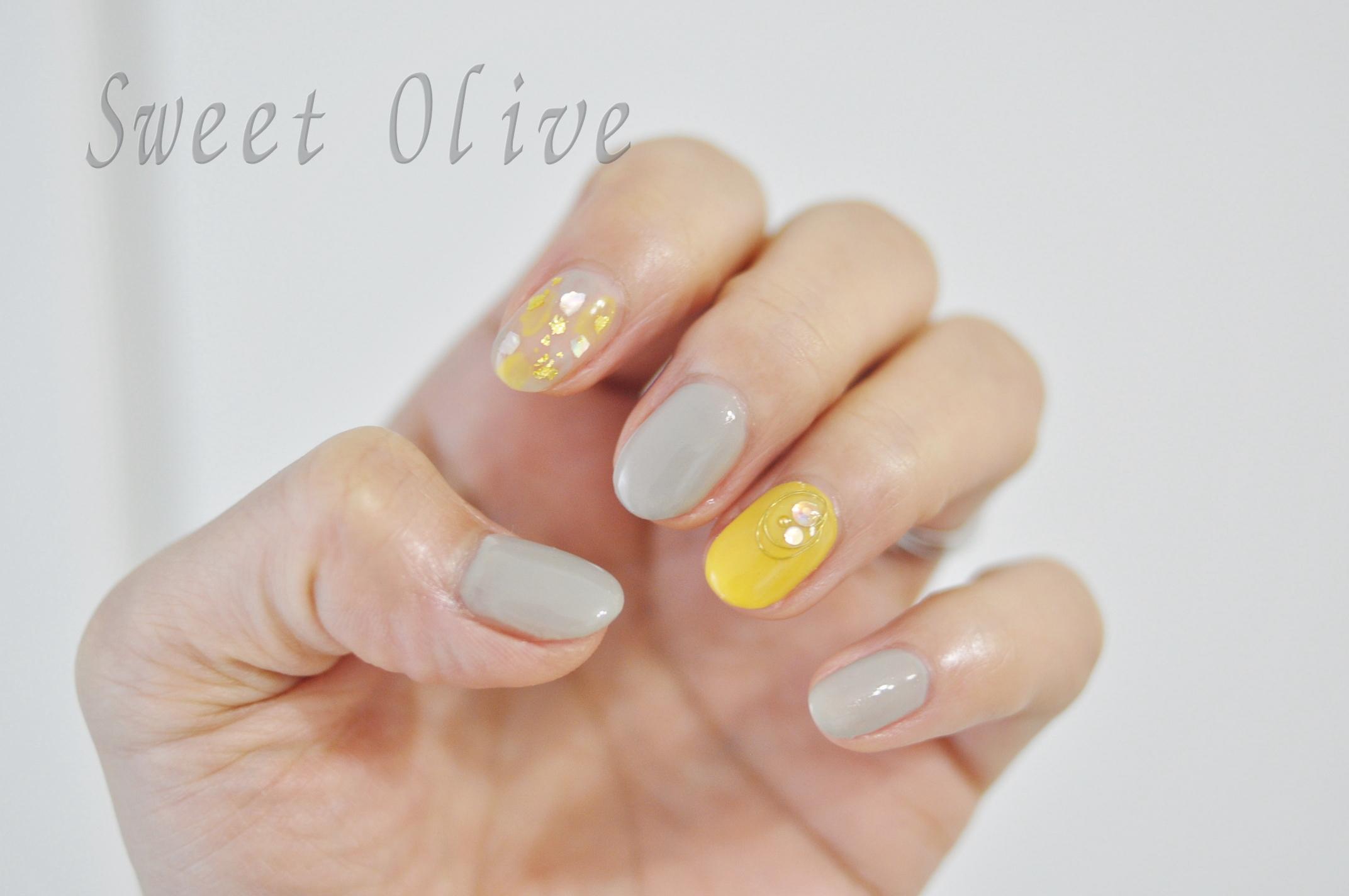 黄色,イエロー,ライトグレー,シェル,貝殻,金箔,塗りかけネイル,春ネイル2018年