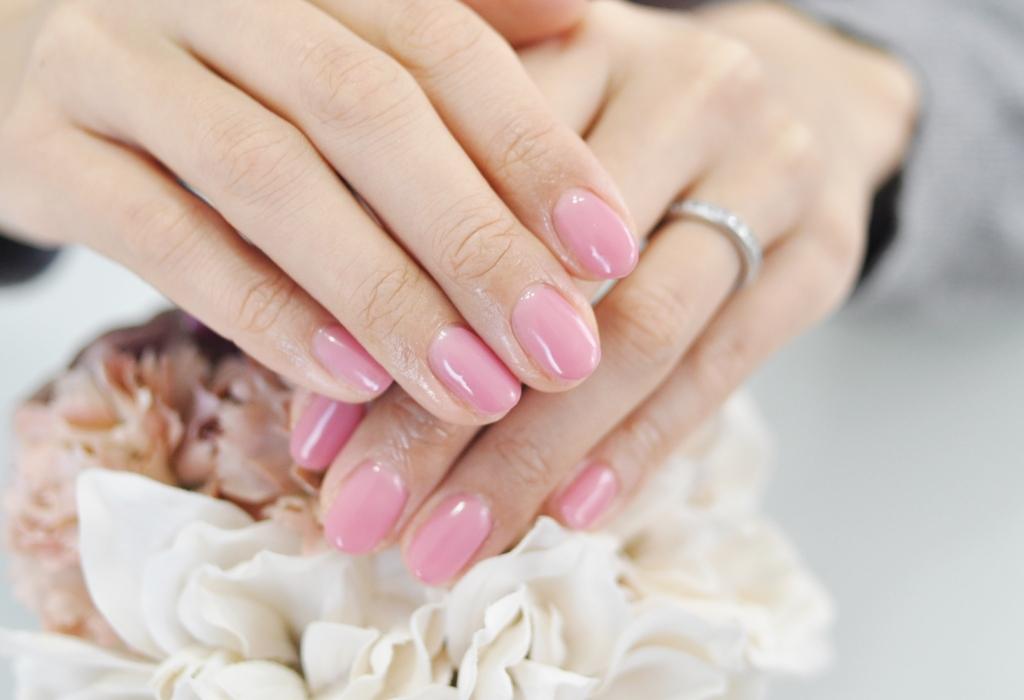 薄ピンク,一色塗り,全塗り,春ネイル2018年