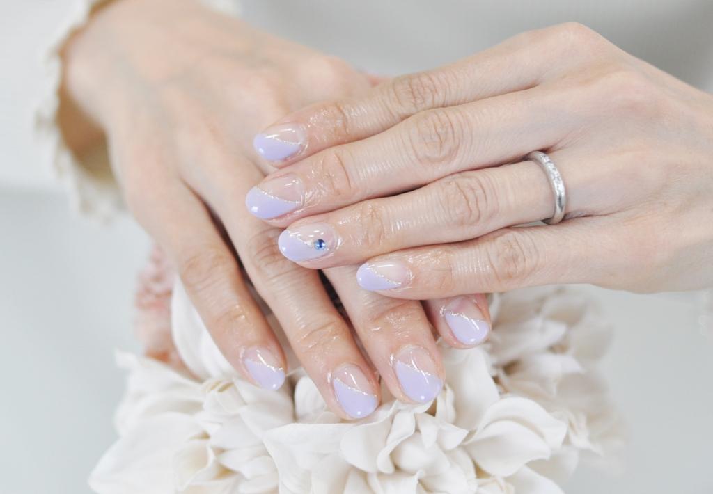 紫,斜めフレンチネイル,オフィスネイル