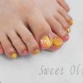 縦グラデーション,フットネイル,初夏フットネイル2018年,黄色,ピンク,オレンジ