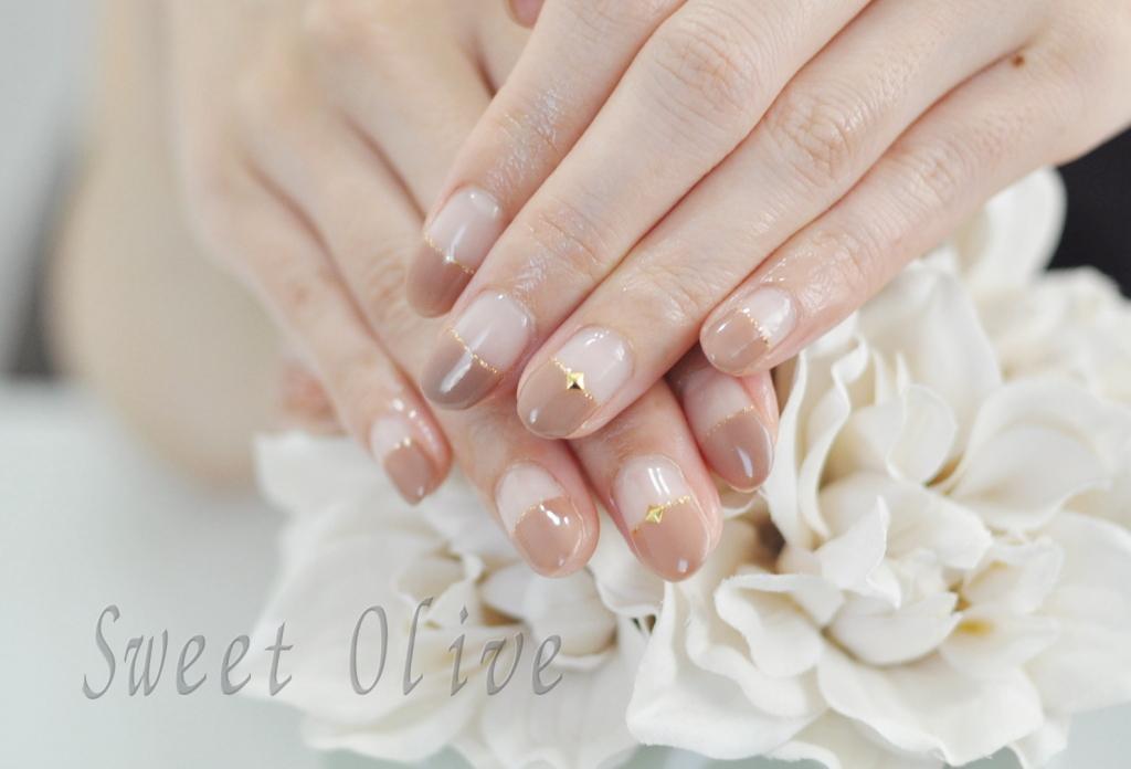 美爪,秋ネイル2018年,オフィスネイル,まっすぐフレンチネイル,茶色,カフェオレカラー