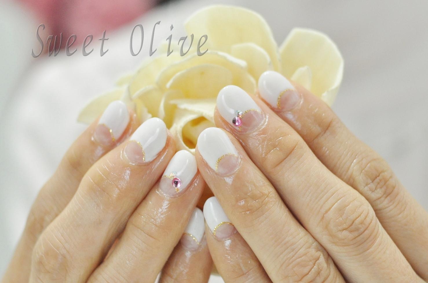 白,逆フレンチネイル,冬ネイル2019年,オフィスネイル