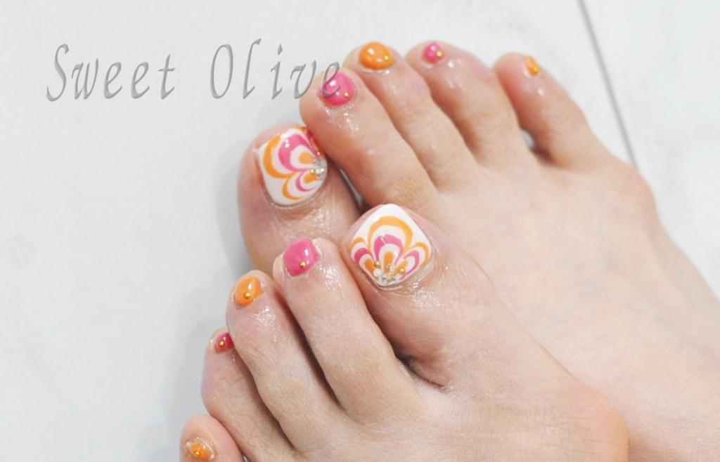 オレンジ,ピンク,手描き,花柄,フットジェルネイル