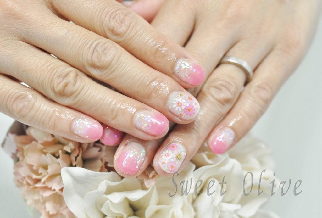 ビビッドピンク,押し花シール,ピンク,オーロララメホロ,春ネイル2019年