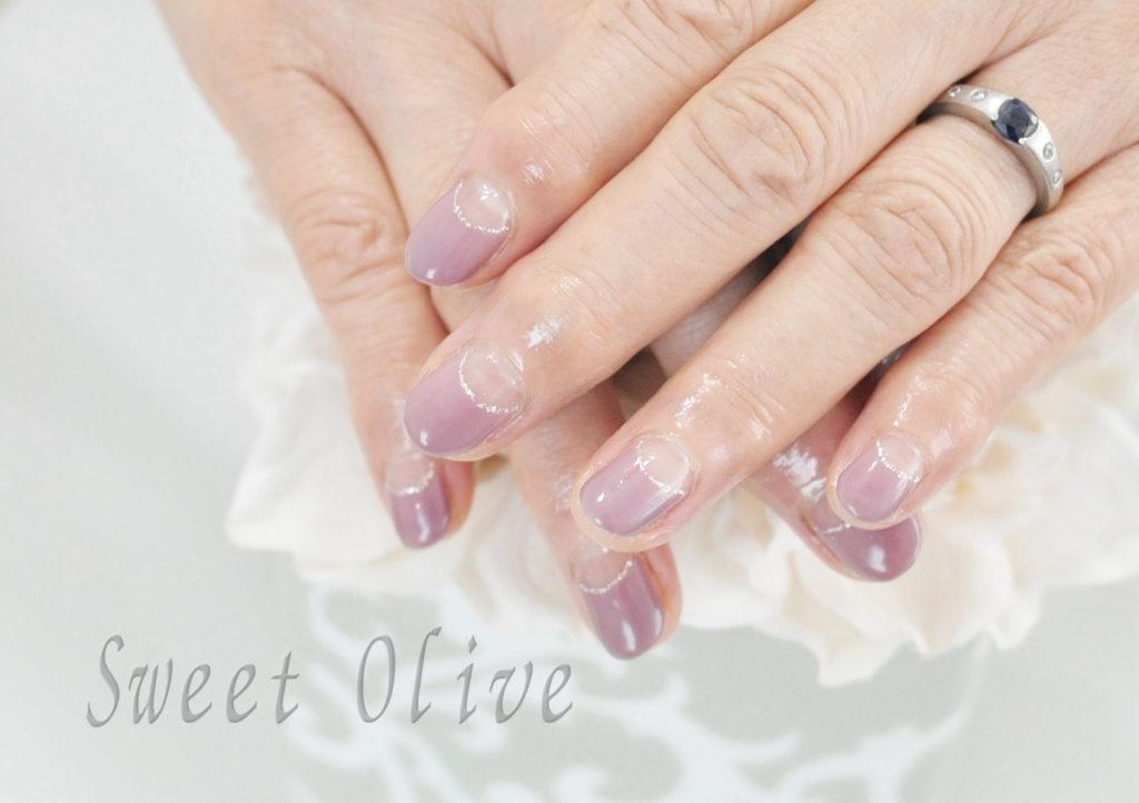 紫ピンク,77歳,オフィスネイル