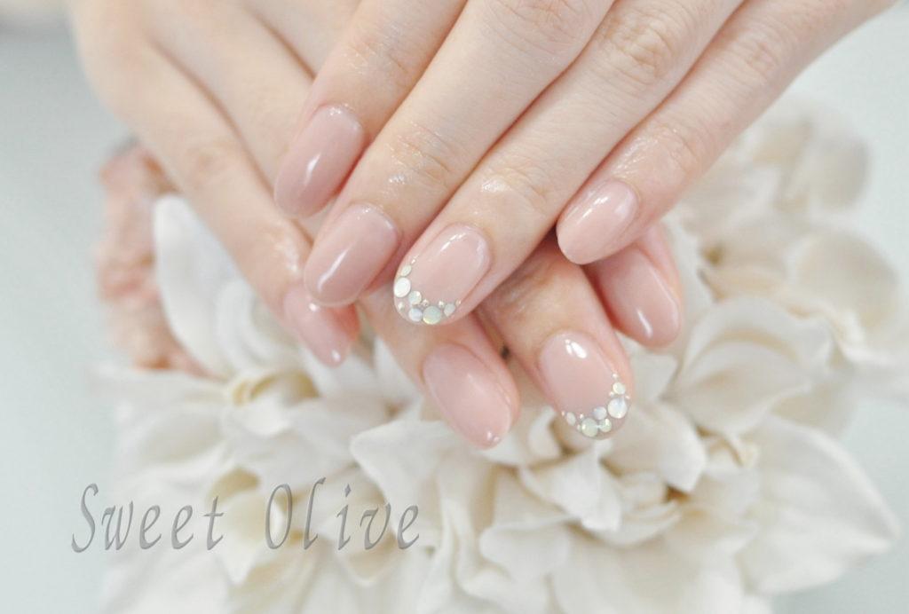 くすみ系ピンク,ストーンフレンチネイル,初夏ネイル2019年,美爪,オフィスネイル