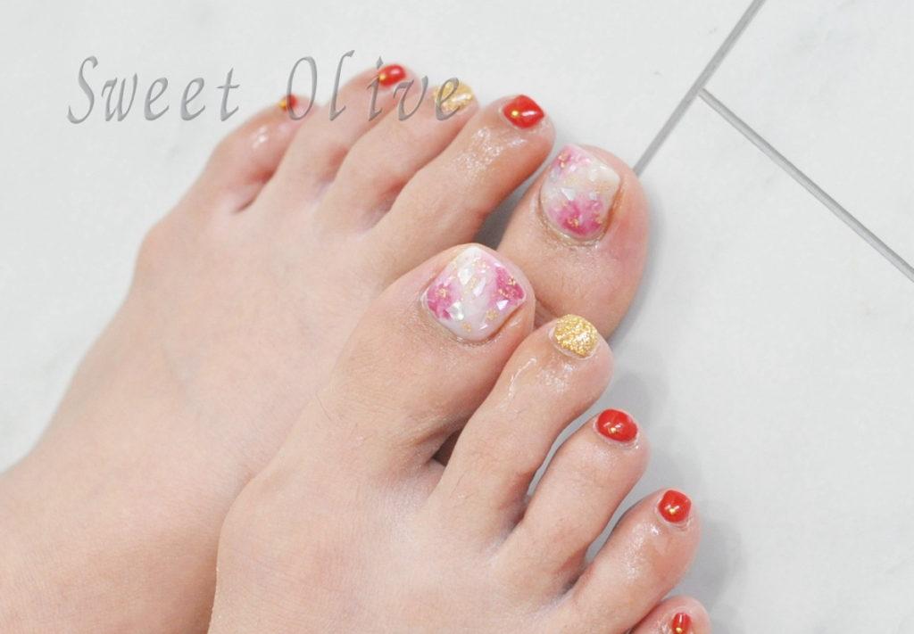白,ピンク,タイダイ柄,夏フットジェルネイル2019年,シェル,貝殻