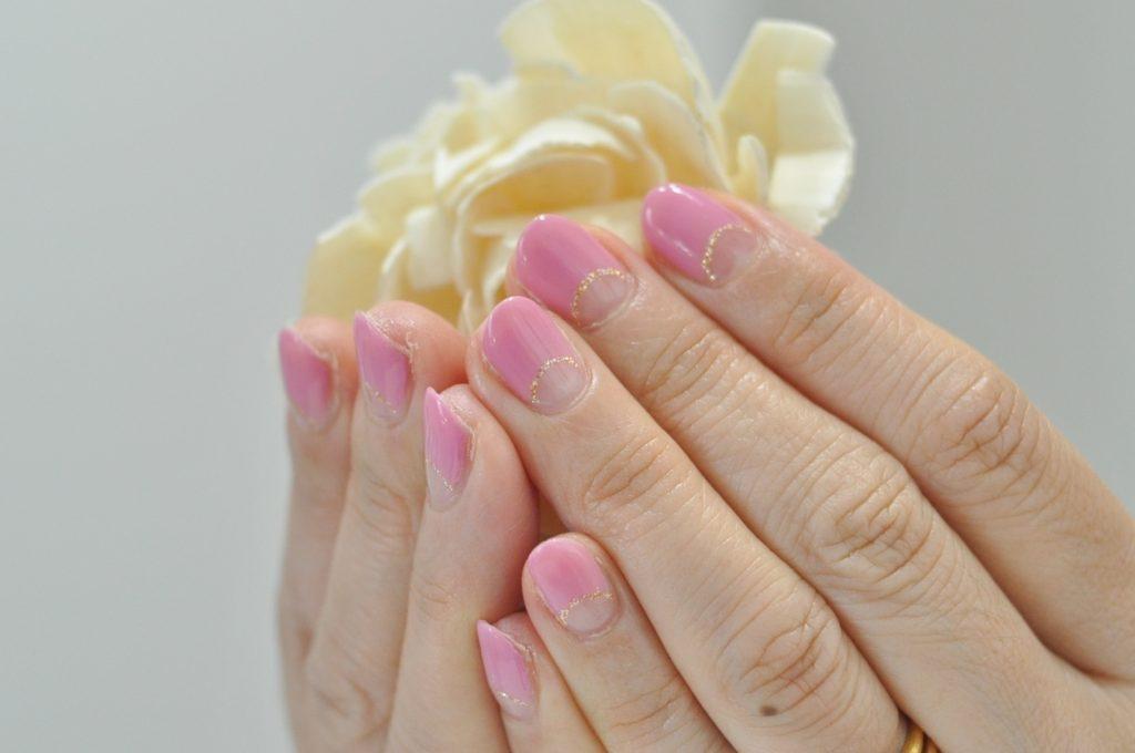 ピンク,ベージュピンク,逆フレンチネイル,春ネイル2020年
