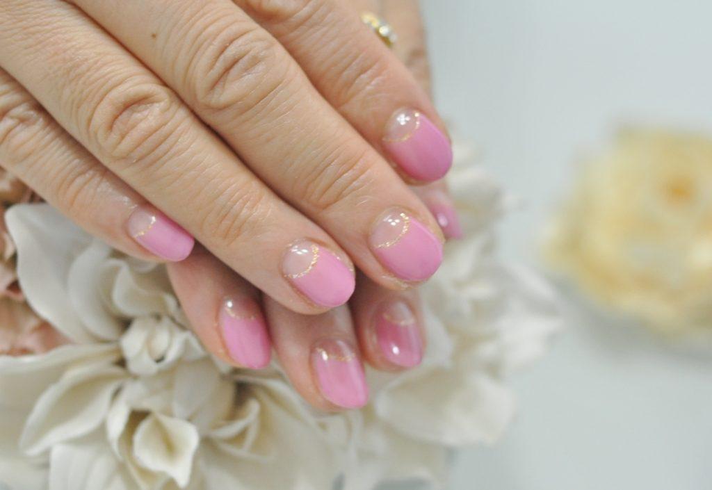 薄ピンク,逆フレンチネイル,オフィスネイル,春ネイル2020年