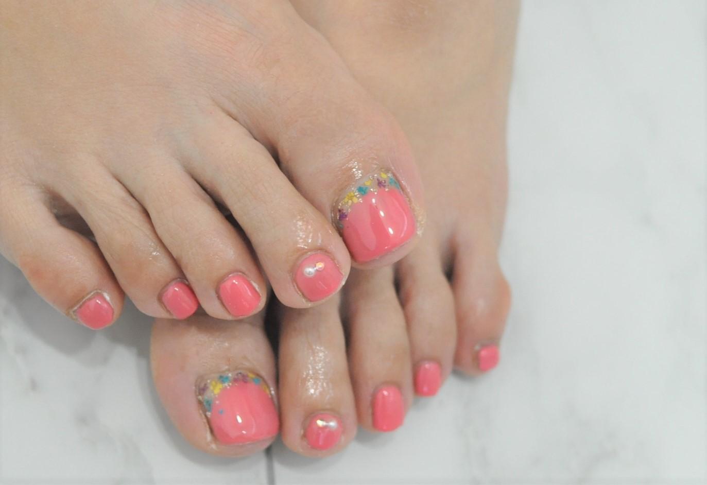 春フットネイル2021年,押し花ネイル,ピンク