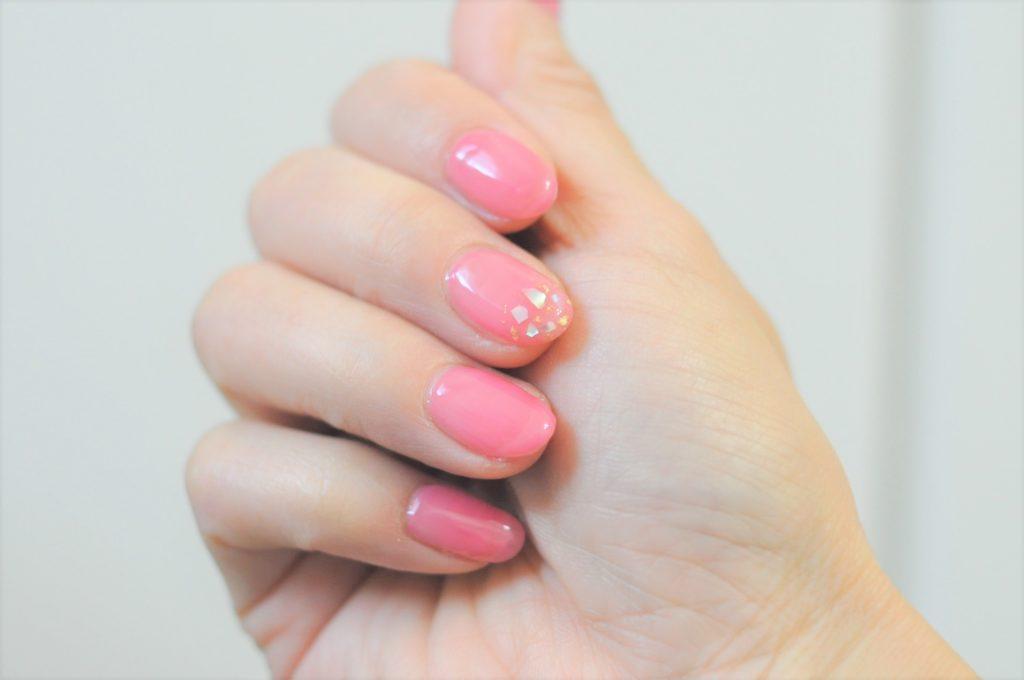 春色,ピンク,一色塗り,全塗り,春ネイル2021年,貝殻,シェルネイル