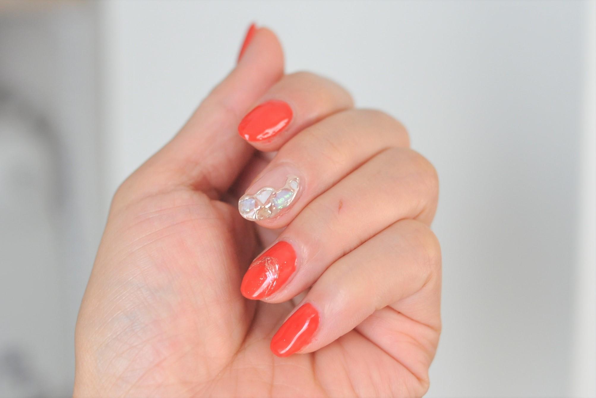 オレンジ,赤,ステンドグラスネイル,ミラーネイル,シェル,貝殻,初夏ネイル2021年